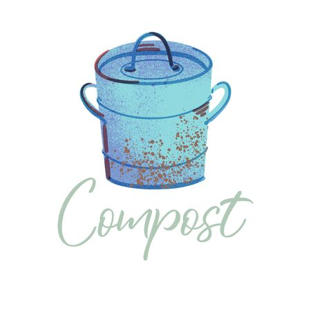Trash bin for compost. Organic waste theme. Illustration for home food processing and compost, organic waste, zero waste, environmental problem. 일러스트