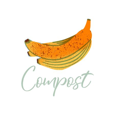 Banana peel to compost. Organic waste theme. Illustration for home food processing and compost, organic waste, zero waste, environmental problem. Illustration