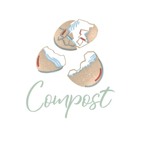 Eggshell to compost. Organic waste theme. Illustration for home food processing and compost, organic waste, zero waste, environmental problem.