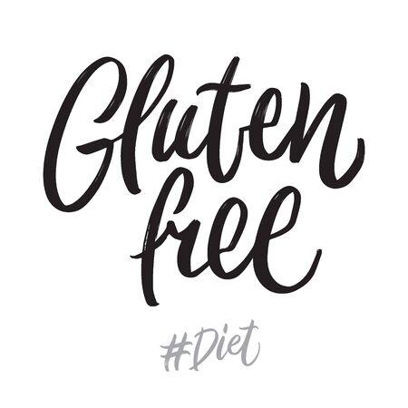 Diet hand written lettering words: gluten free. Healthy food vector design on white background