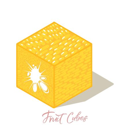 Isometric orange fruit cubes with shadows. Colorful food illustration for healthy food cafe, restaurant, fruits and grocery market 向量圖像
