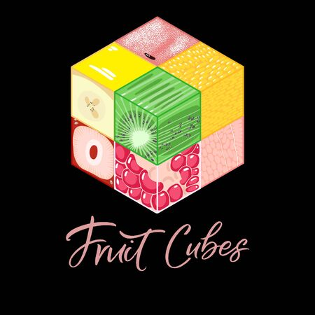 Collection of Isometric fruit cubes on black background. Colorful vector food illustration for healthy food cafe, restaurant, fruits and grocery market 向量圖像
