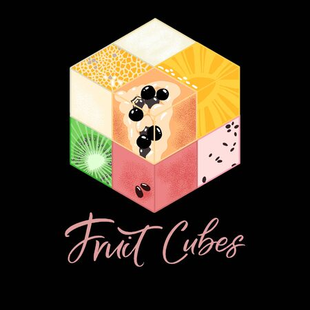 Collection of Isometric fruit cubes on black background. Colorful  food illustration for healthy food cafe, restaurant, fruits and grocery market
