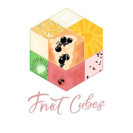 Collection of Isometric fruit cubes on white background. Colorful food illustration for healthy food cafe, restaurant, fruits and grocery market