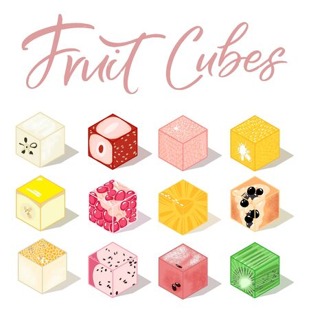 Isometric fruit cubes with shadows. Colorful food illustration for healthy food cafe, restaurant, fruits and grocery market 向量圖像