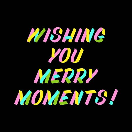 Wishing you merry moments  brush sign lettering. Celebration card design elements on black background. Holiday lettering templates for greeting cards, overlays, posters