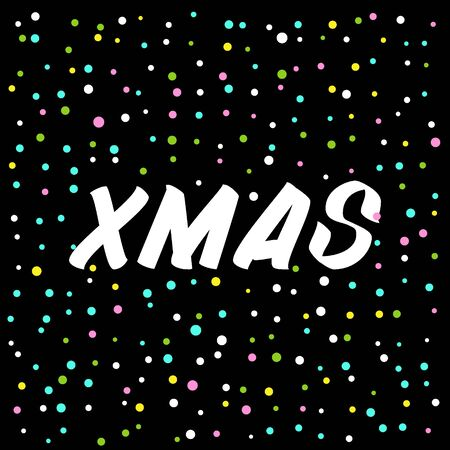 Xmas brush sign lettering. Celebration card design elements on black background with confetti. Holiday lettering templates for greeting cards, overlays, posters