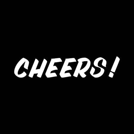 Cheers brush sign lettering. Celebration card design elements on black background. Holiday lettering templates for greeting cards, overlays, posters