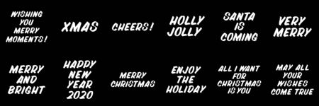 Merry Christmas and New Year typography set of brush sign lettering. Celebration card design elements on black background. Holiday lettering templates for greeting cards, overlays, posters