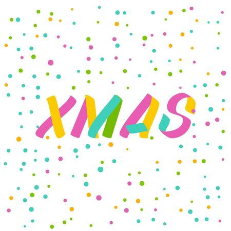 Xmas brush sign lettering. Celebration card design elements on white background with confetti. Holiday lettering templates for greeting cards, overlays, posters