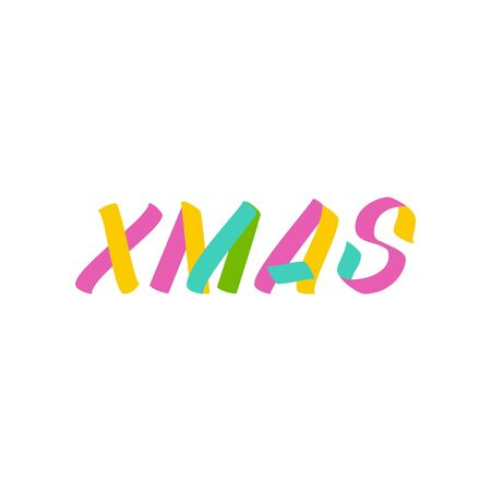 Xmas brush sign lettering. Celebration card design elements on white background. Holiday lettering templates for greeting cards, overlays, posters Ilustração