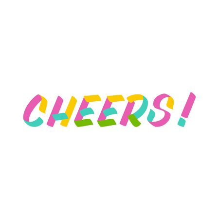 Cheers brush sign lettering. Celebration card design elements on white background. Holiday lettering templates for greeting cards, overlays, posters