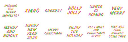Merry Christmas and New Year typography set of brush sign lettering. Celebration card design elements on white background. Holiday lettering templates for greeting cards, overlays, posters Ilustração