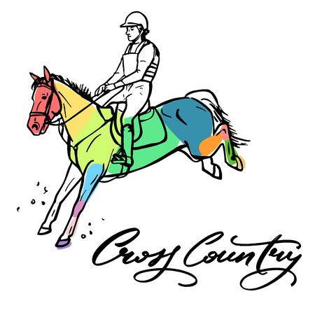 Нand drawn colorful graphic: horse riding. Equestrian sport like cross country illustration for your design