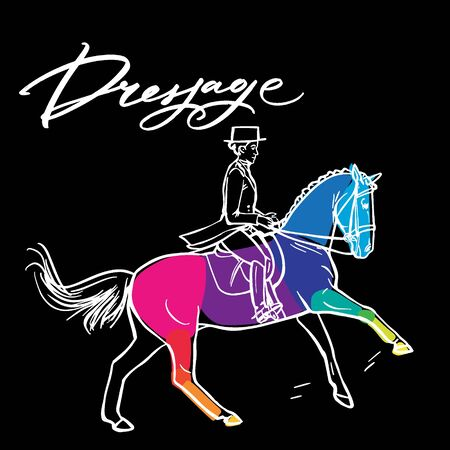 Нand drawn colorful graphic: horse riding. Equestrian sport like dressage illustration for your design on black background Ilustrace