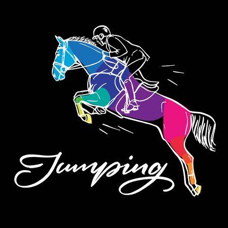 Ð y gráfico colorido dibujado: equitación. Deporte ecuestre como ilustración de salto para su diseño sobre fondo negro