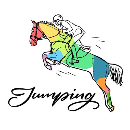 ?and drawn colorful graphic: horse riding. Equestrian sport like jumping illustration for your design