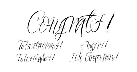 Set of congrats brush paint hand drawn lettering on white background. Felicitations, Felisidades, Augiri, Ich Gratuliere design templates for greeting cards, overlays, posters Ilustração