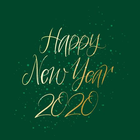 Happy New Year hand drawn brush gold lettering with splash on green background. Design lettering templates for greeting cards, overlays, posters