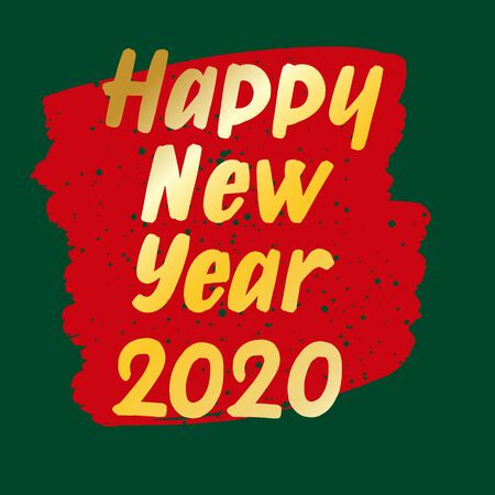 Happy New Year hand drawn brush gold lettering on green and red background. Design lettering templates for greeting cards, overlays, posters Ilustração