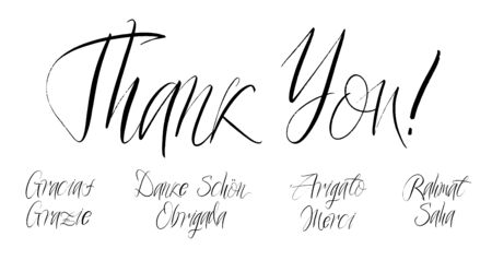 Set of grateful brush paint hand drawn lettering on white background. Thank you, Gracias, Grazie, Danke Schon, Arigato, Rahmat, Obrigada, Merci, Sahadesign templates for greeting cards, overlays, posters