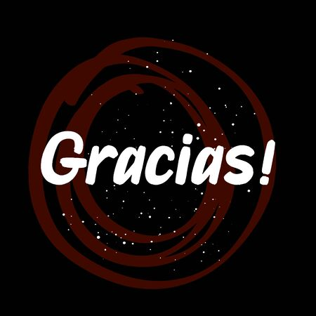 Gracias brush paint hand drawn lettering on black background with splashes. Love in spanish language design  templates for greeting cards, overlays, posters Ilustração