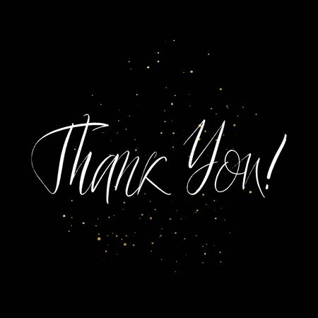 Thank You brush paint hand drawn lettering on black background with splashes. Design templates for greeting cards, overlays, posters