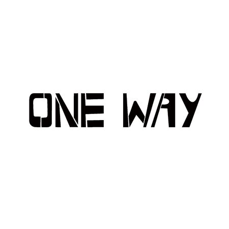 One Way stencil lettering. Spray paint graffiti on white background. Design lettering templates for greeting cards, overlays, posters
