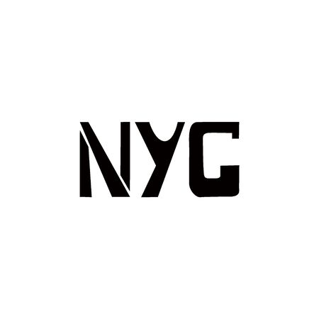 NYC stencil lettering. Spray paint graffiti on white background. Design lettering templates for greeting cards, overlays, posters