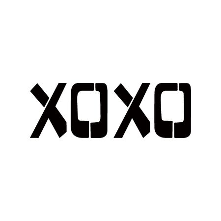 XOXO stencil lettering. Spray paint graffiti on white background. Design lettering templates for greeting cards, overlays, posters