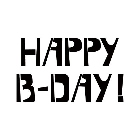 Happy Birthday stencil lettering. Spray paint graffiti on white background. Design lettering templates for greeting cards, overlays, posters