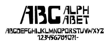 Stencil typeface with spray texture. Painted vector uppercase characters on white background. Typography alphabet for your designs: logo, typeface, card
