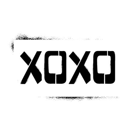 XOXO stencil lettering in frame. Spray paint graffiti on white background. Design lettering templates for greeting cards, overlays, posters