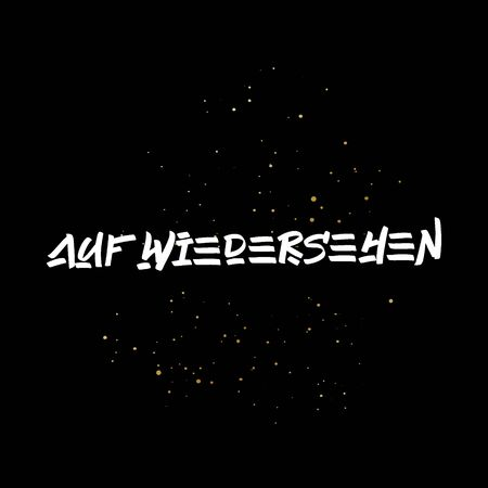 AufWiedersehen brush paint hand drawn lettering on black background with splashes. Parting in german language design templates for greeting cards, overlays, posters