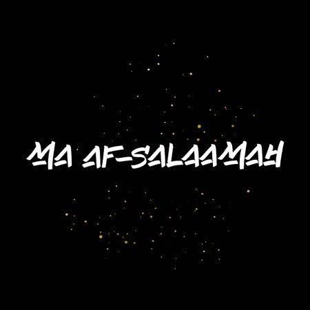 Ma as-Salaamah brush paint hand drawn lettering on black background with splashes. Parting in arabian language design templates for greeting cards, overlays, posters