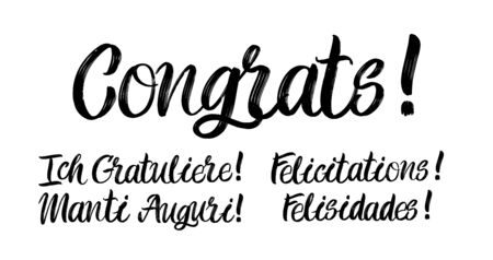 Set of congrats brush paint hand drawn lettering on white background. Felicitations, Felisidades, Tanti Auguri, Ich Gratuliere design templates for greeting cards, overlays, posters Ilustração