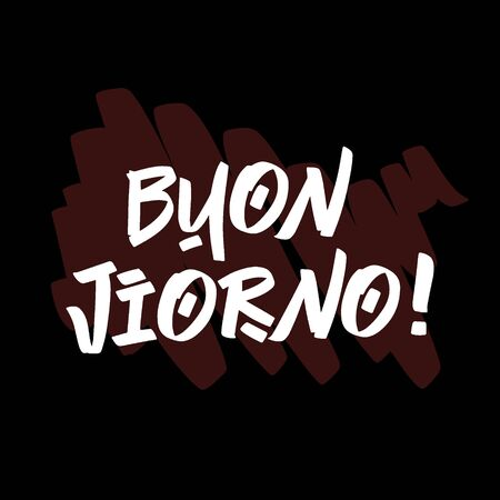 Buon Jiorno brush paint hand drawn lettering on black background with splashes. Greeting in italian language design templates for greeting cards, overlays, posters Ilustração
