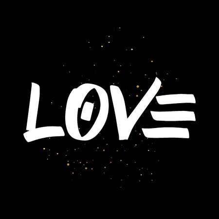 Love brush paint hand drawn lettering on black background with splashes. Design templates for greeting cards, overlays, posters Ilustração