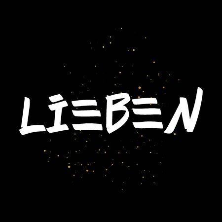 Lieben brush paint hand drawn lettering on black background with splashes. Love in german language design templates for greeting cards, overlays, posters