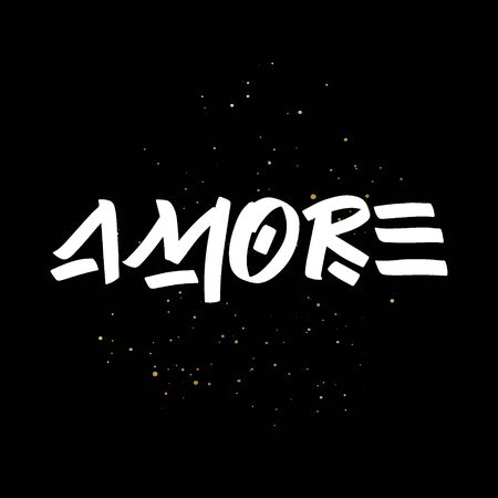 Amore brush paint hand drawn lettering on black background with splashes. Love in italian language design templates for greeting cards, overlays, posters