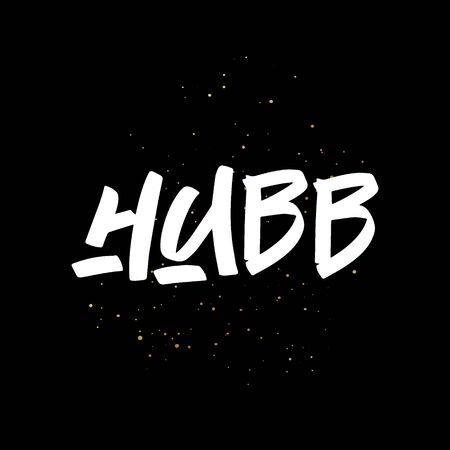 Hubb brush paint hand drawn lettering on black background with splashes. Love in arabian language design templates for greeting cards, overlays, posters