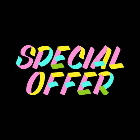 Special Offer brush sign lettering on black background. Sale design templates for greeting cards, overlays, posters
