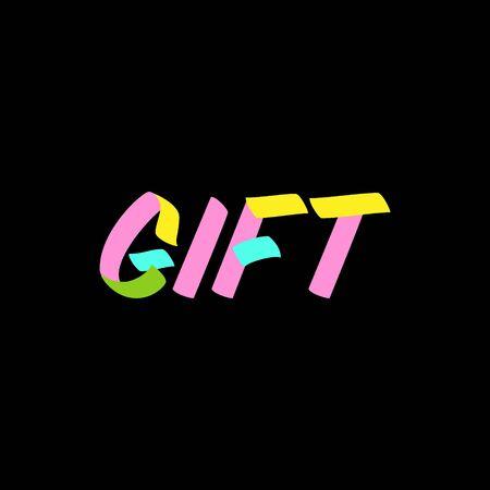 Gift brush sign lettering on black background. Sale design templates for greeting cards, overlays, poster 向量圖像