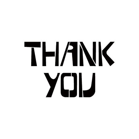 Thank you stencil lettering. Spray paint graffiti on white background. Design templates for greeting cards, overlays, posters