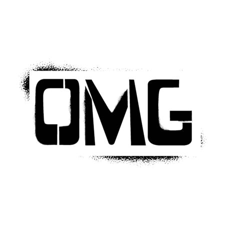 OMG stencil lettering in frame. Spray paint graffiti on white background. Design templates for greeting cards, overlays, posters
