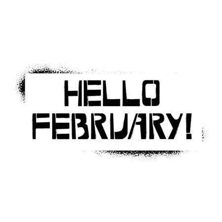 Happy February stencil lettering. Spray paint graffiti on white background. Design templates for greeting cards, overlays, posters