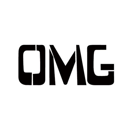 OMG stencil lettering. Spray paint graffiti on white background. Design templates for greeting cards, overlays, posters Banco de Imagens - 135416177