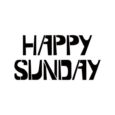 Hello Sunday stencil lettering. Spray paint graffiti on white background. Design  templates for greeting cards, overlays, posters