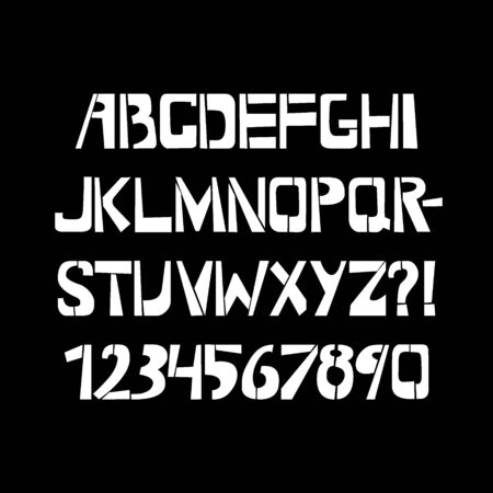 Stencil typeface. Painted vector uppercase characters on black background. Typography alphabet for your designs: logo, typeface, card Ilustração