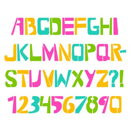 Stencil typeface with spray texture. Colorful vector uppercase characters on white background. Typography alphabet for your designs: logo, typeface, card Ilustração